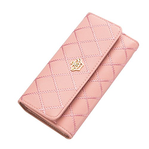 Contever Fashion Lady Women Clutch Long Purse PU Leather Wallet Card Holder Handbag Bag -- Pink by Contever (Holder Leather Womens Card)