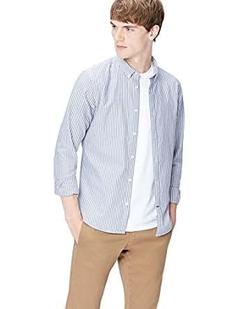 T-Shirts Herren Schmales gestreiftes Oxford Hemd, Blau (Chambray 204), Small