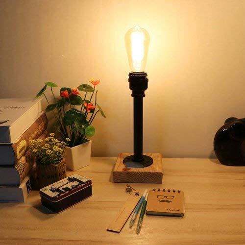 Vintage Wasserleitung Holz Schreibtischlampe Industrie Loft Schmiedeeisen Tischlampe Retro Edison E27 Schreibtisch Licht Restaurant Wohnzimmer Esszimmer Dekoration Tischleuchte (Edison-erweiterung)