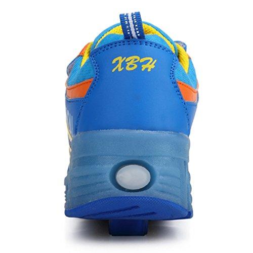 Junge KISCHERS Schuhe M盲dchen Sneaker Kinder Skateboard Rollen Mit Blau Rollschuhe Led Fqr5ZwRq