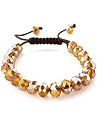 Czech Crystal Friendship Bracelet with Silk Strap in Two Tone
