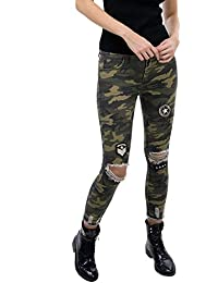 DSguided designer Camouflage Jeans mit Patches Army-Look Jeanshose mit risse Sterne top aktuell