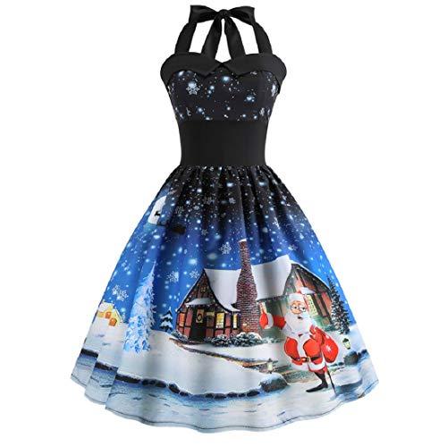 VECDY Damen Kleid,Weihnachten Geschenk- Herbst Frauen Vintage Weihnachten gedruckt Halter ärmelloses Abend Party Prom Swing Kleid Elegantes Weihnachtskleid Damen(Blau,40)