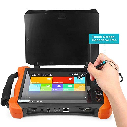 IP-Kamera-Tester, 8-Zoll-2K-Retina-Touchscreen 6-in-1-CCTV-Tester-Monitor mit CVBS/TVI/CVI/AHD/EX-SDI/Digitalmultimeter/Kabelspanner/TDR/OPM/VFL/POE/WLAN/HDMI-Eingang Prüfer Cctv-tester