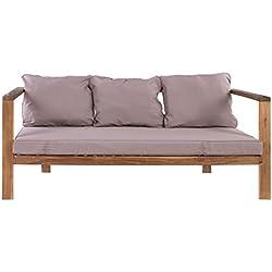 Sofá de 3 plazas para jardín de madera gris Garden - Lola Derek
