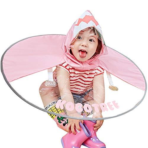 YongFeng UFO-Regenmantel Kinder Regenmantel Jungen und Mädchen Poncho Poncho Baby Regenschirm Mütze Kindergartenkinder Student Regen Mütze (Farbe : Rosa, größe : S(80-120cm))
