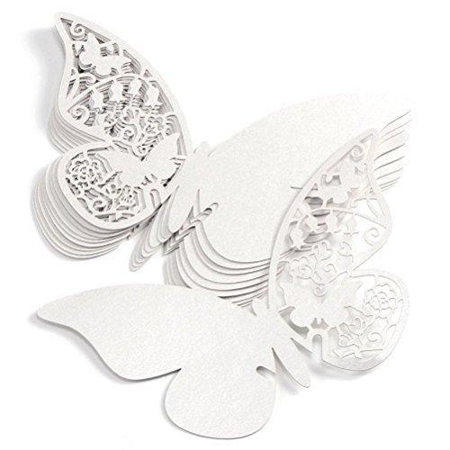 ElecMotive 100 Pcs Schmetterling Trichterwinde Tischkarten Namenskarten Glasanhänger Wandsticker für Tischdeko Hochzeit Party Haus Deco (Weiß)