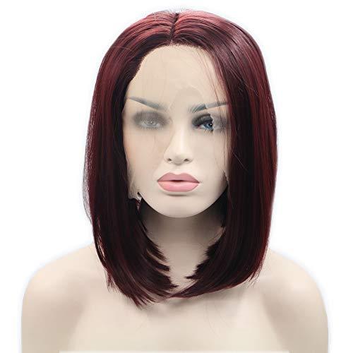 Bobo Gerade Haar Perücke Dunkelrot Kurz Haar Voll Spitze Vorderseite Schauen Sie natürlich Haarstücke Frau Qualität synthetisch PerückenKleider Billig ()