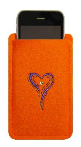 Kringsfashion–custodia per iphone 4/s, 3, arancione, cuore ricamato lilla, di alta qualità, tela con swarovski® vetro;