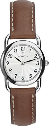 Michel Herbelin Equinox Women's Quartz Watch with White Dial Analogue Display and Brown Leather Strap 17467/28GO