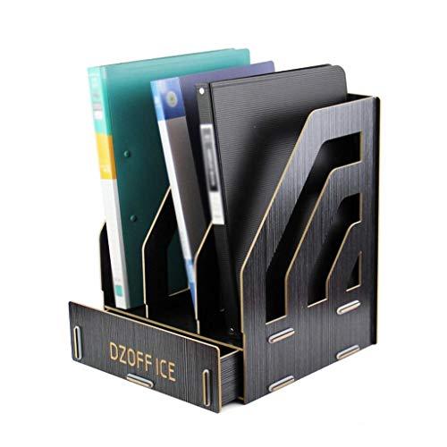 XHHWZB Desktop Organizer - Ordner- und Ordnersortierung aus Bambusholz - Schreibtischablage mit 3 vertikalen Abschnitten und Telefonhalter - Ablagefach für Bürobedarf Mappen Letters Paper Documents Ma