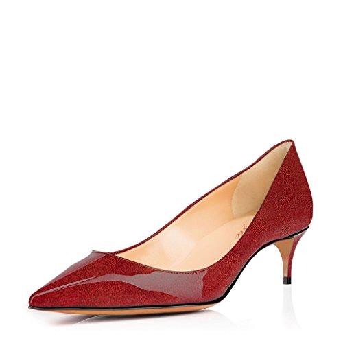 SHOFOO - Femmes - Escarpins - Cuir synthétique - Bride de cheville - Rouge ou Or ou Rose - Talon aiguille - Bout rond ouvert Rouge