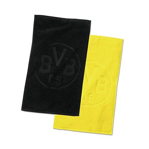 Borussia Dortmund BVB Gästehandtücher mit Emblem, Baumwolle, Schwarz/Gelb, 50 x 30 x 1 cm, 2-Einheiten