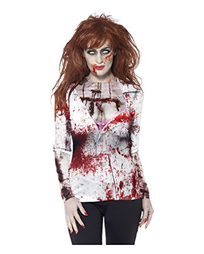Blutiges Zombie Business Lady Longshirt (Zombie Kostüme Womens)