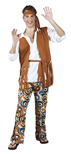 Karnevalsbud - Herren Hochwertiges Kostüm Hippie, Braun, Größe (Kostüme Blumenkind Hippie Perücke Braun)