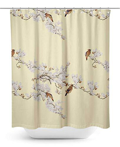 S4Sassy Blanc Fleur et Bulbul Oiseau Rideau de Douche imprimé imperméable décoratif Crochets rideaux-60 x 75 Pouces