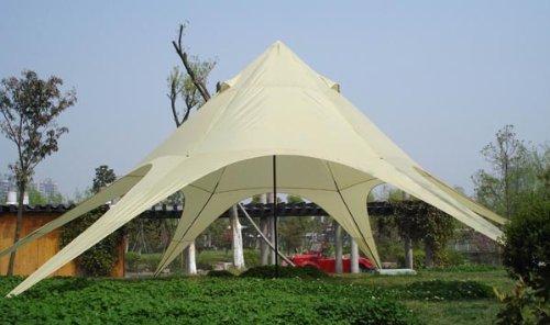 CLP XL-Sternzelt für den Garten I Event-Zelt mit 14 Meter Durchmesser I Gartenzelt mit Einer überdachten Fläche von ca. 40 m² I erhältlich Creme