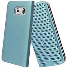Samsung Samsung funda tipo libro funda dot View Smart carcasa rígida y Ultra delgado–color–Ordica France®, piel sintética, azul, Samsung Galaxy S6 Edge