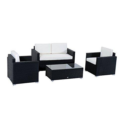 Outsunny Ensemble Salon de Jardin résine tressée 4 Places et Table Basse Design Noir et Blanc