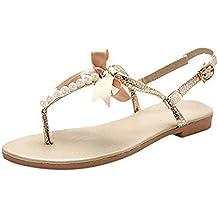 Minetom Donne Ragazze Estate Sandali Dolce Stile Spiaggia Scarpe Perline-Strap Peep Toe Pantofole Con Bowknot