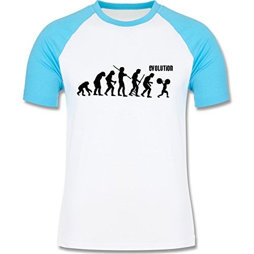 Shirtracer Evolution - Gewichtheber Evolution - Herren Baseball Shirt Weiß/Türkis