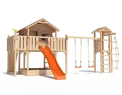 FANTASIO Baumhaus Stelzenhaus Spielhaus mit Schaukel, Kletterturm, Kletterrampe, Rutschstange und Rutsche auf 1,50 m Podesthöhe