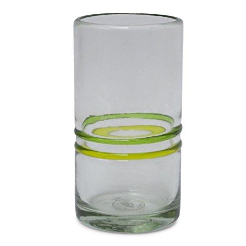 Hi Ball Glas, gelb/grün, mundgeblasen aus recyceltem Glas-einzeln erhältlich und als Set von 2oder 6-Fair Trade und handgefertigt in Mexiko Hi-ball Gläser