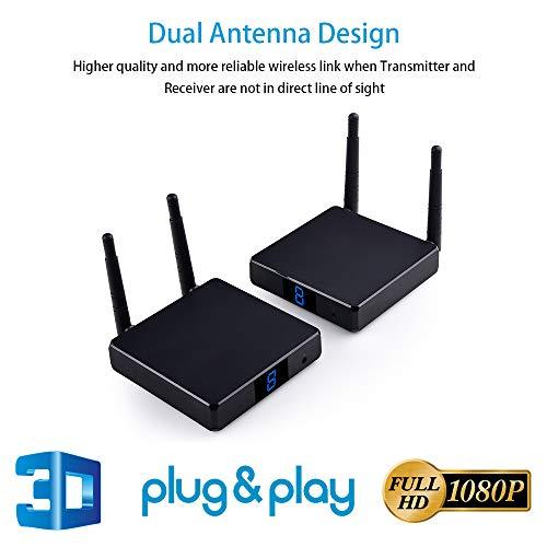 Measurey FHD686 - Convertitore HDMI senza fili da 200 m, trasmettitore HDMI, con supporto passthrough IR 1080P 3D