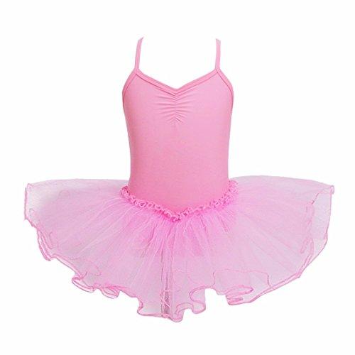 Kostüm 26 Größe Elf (iiniim Mädchen Kleider Ballettkeider Ballettanzug Turnanzug Trikot Tanz Leotard Kleider mit Tüll Rock Rosa 146-152/11-12)