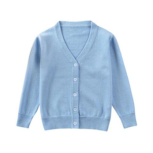 0-3 Jahr Kleinkind Kinder Strickjacke, DoraMe Baby Jungen Mädchen Gestrickte Solide V-Ausschnitt Pullover Herbst Winter Cardigan Mantel Tops Kleidung (Blau, 6 Monate) Kleinkind-blau Strickjacke