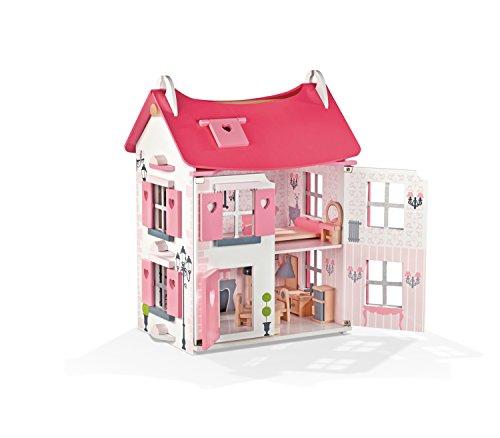 Janod - Casa de muñecas de Madera Mademoiselle, Rosa (J05725)