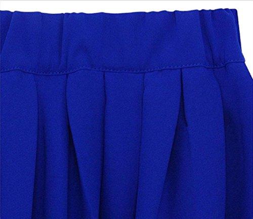 Oyedens Damen Edle Moderne Ausdehnung Hohe Taille Ebene Erweitertes Gefaltetes Langes Rockkleid Blau