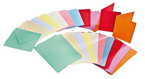 Farbige Karten (100tlg. Kartenset je 50 Karten & Umschläge farbig A6 & C6 VBS Großhandelspackung)