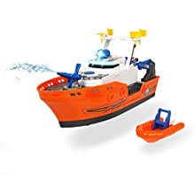 Simba Dickie Action Series Barca Harbour Rescue Cm 33, Luci E Suoni, Try Me, Multicolore, 4006333024245
