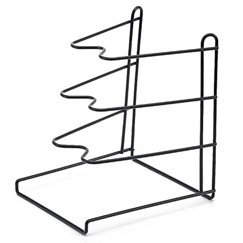 EZOWare 3 Tier Frying Pan Pot Rack Cookware Organiser Kitchen Stand Holder for Kitchen Countertop, Cupboard Corner or Cabinet - Black