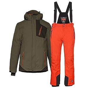 Killtec Herren Skianzug Gr. M – XXL 2-TLG. Skijacke grünanthrazit + Skihose orange – Winddicht wasserdicht