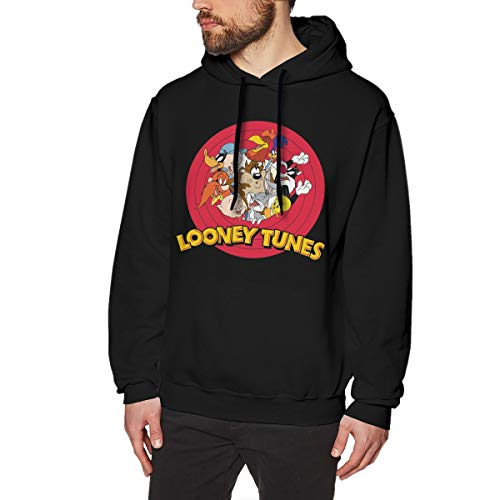 Jamessmo Herren Druck Pullover Hoodie Hipster Looney Tunes Black S Kapuzenpulli -