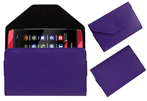 Acm Premium Pouch Case For Nokia Asha 305 Flip Flap Cover Holder Purple  available at amazon for Rs.179