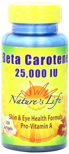 Nature's Life Beta Carotene Softgels, 25,000 IU, 250 Count (Iu 25000 250 Softgels)