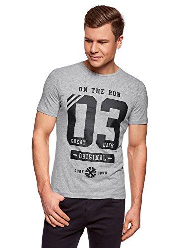 oodji Ultra Herren Baumwoll-T-Shirt mit Schriftzug, Grau, XL