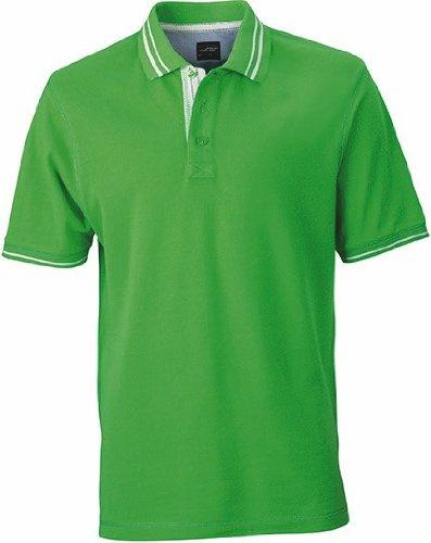 Lifestyle Poloshirt mit Kontraststreifen Green/Off-White