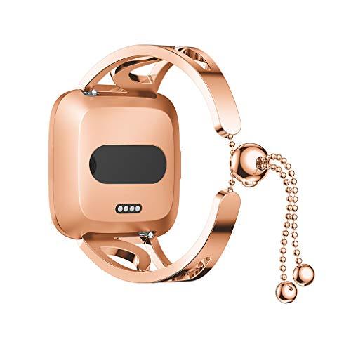 Für Fitbit Versa Lite Edelstahl Armband,Colorful Runde Perlen Erstatzband Luxuriöse Mode Ersatz Handschlaufe Mädchen Uhrenarmband Strap Wrist Strap Watch Band für Fitbit Versa Lite (Roségold) - Uhrenarmbänder Für Mädchen