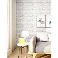 """HaokHome 61022 Faux White Brick Wallpaper Peel and Stick Wallpaper 17.7"""" x 19.7ft Self Adhesive Contact Paper Wall Decor"""