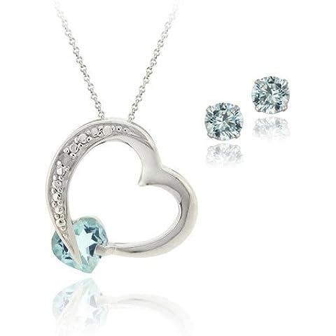 In argento Sterling con topazio blu a forma di cuore, diamante Accent &-Set di orecchini e pendente - Genuine Diamante Bridal Set