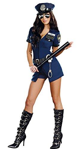 (aimerfeel- sexy ladies Blauer Sexy Minikleid cop Polizei Abendkleid mit Hut, Größe 36-40)