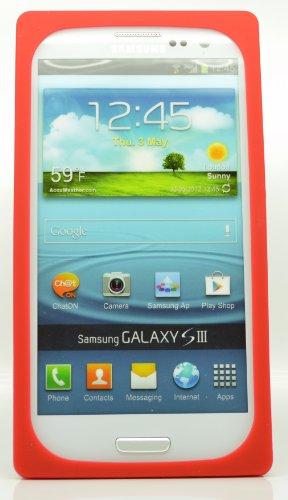 Samsung Galaxy I9300S3et laser slim fit Étui de protection en silicone Film de protection d'écran Red Cassette Silicone Skin