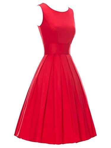 YAZACO Damen 50er Retro Ohne Arm Kleid Casual Abendkleider Partykleid Cocktailkleid Floral 12