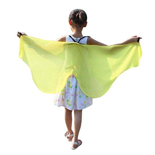 HLHN Halloween Party Umhang, Hexe Zauberer Chiffon Karneval Fasching Kostüm Umhang Kap Robe für Kinder (Gelb)