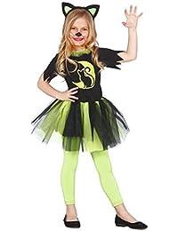 Girls Green Kitty Cat Feline Halloween Tutu Witch Fancy Dress Costume Outfit 3-12 Years
