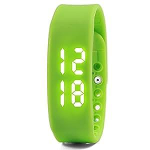 Wuiyepo unisexe 3D étanche LED Calorie podomètre USB intelligente Sport Bracelet Bluetooth à puce bracelet (Vert)